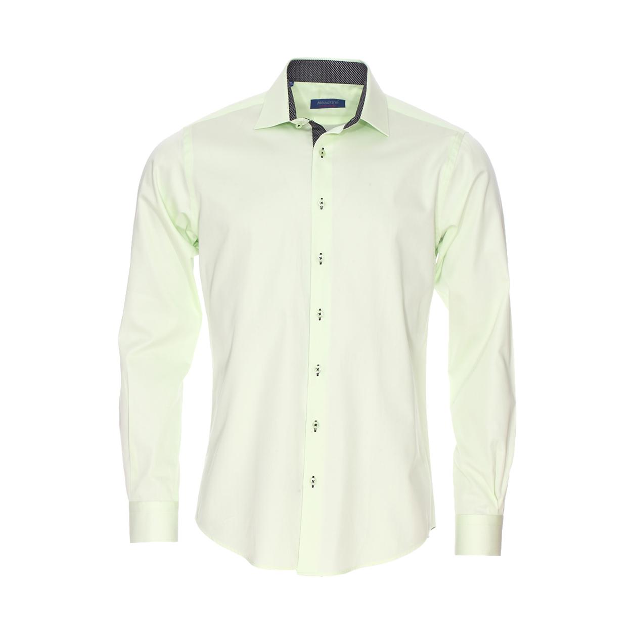 Chemise cintrée  en coton vert à opposition noire à pois blancs