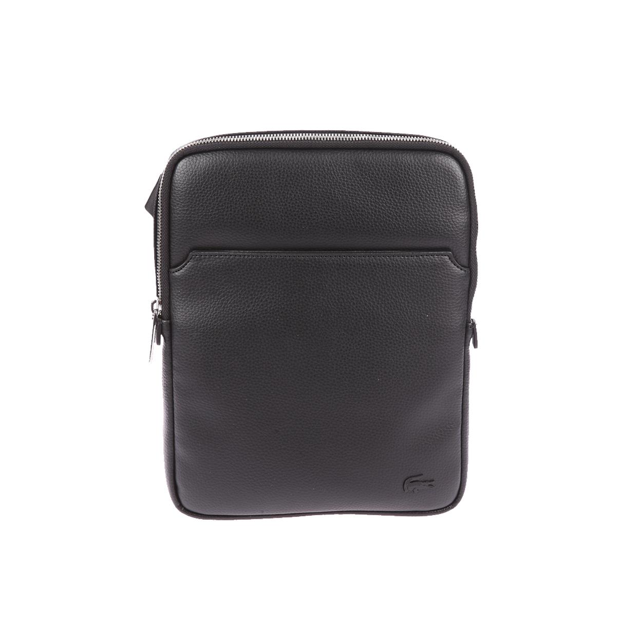 Sacoche plate  en simili cuir texturé noir