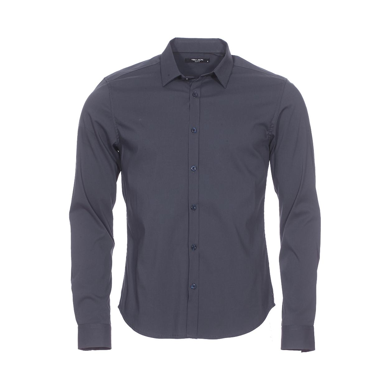 Chemise ajustée  en coton mélangé bleu nuit