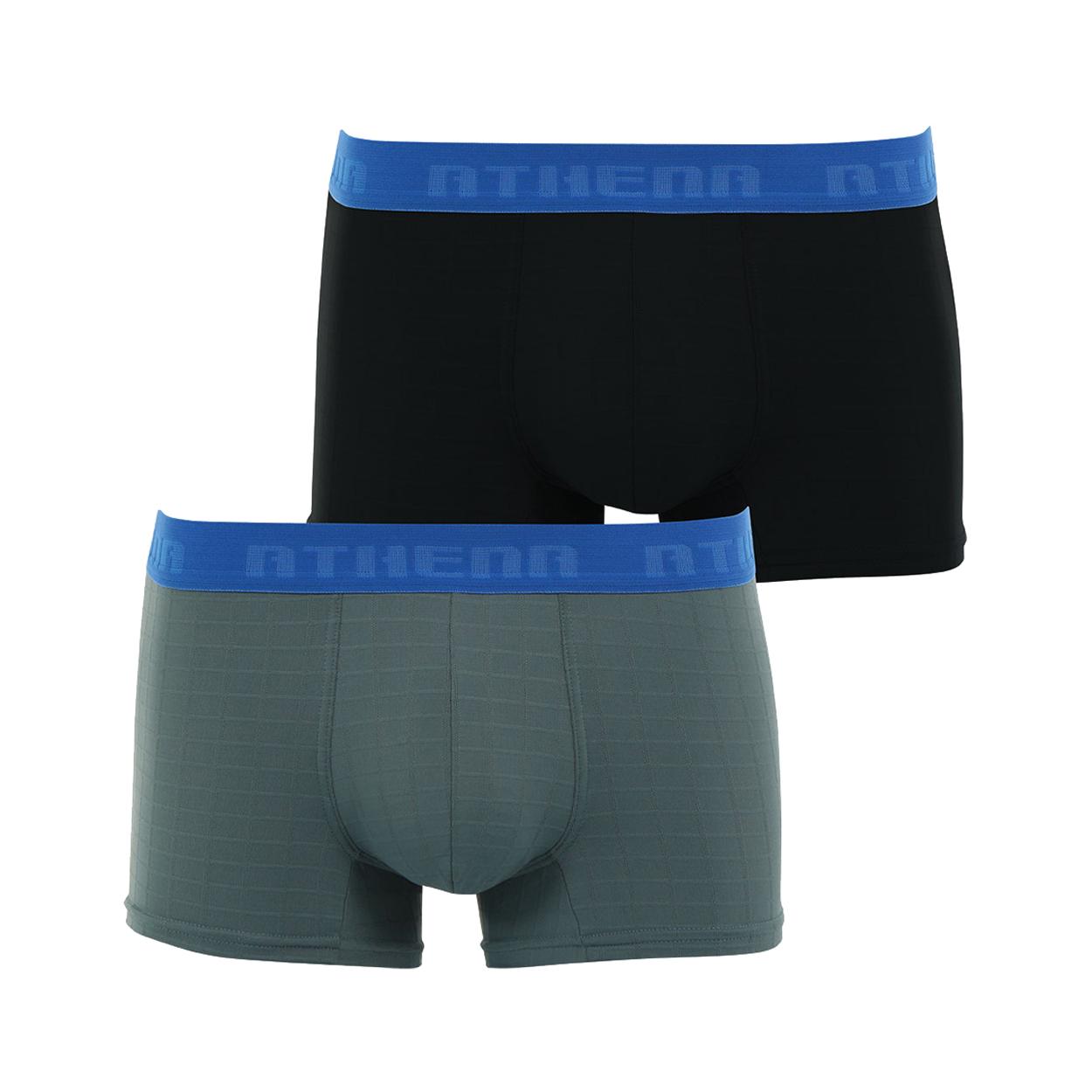 Lot de 2 boxers  en microfibre : 1 modèle gris anthracite et 1 modèle noir, effet quadrillé en relief