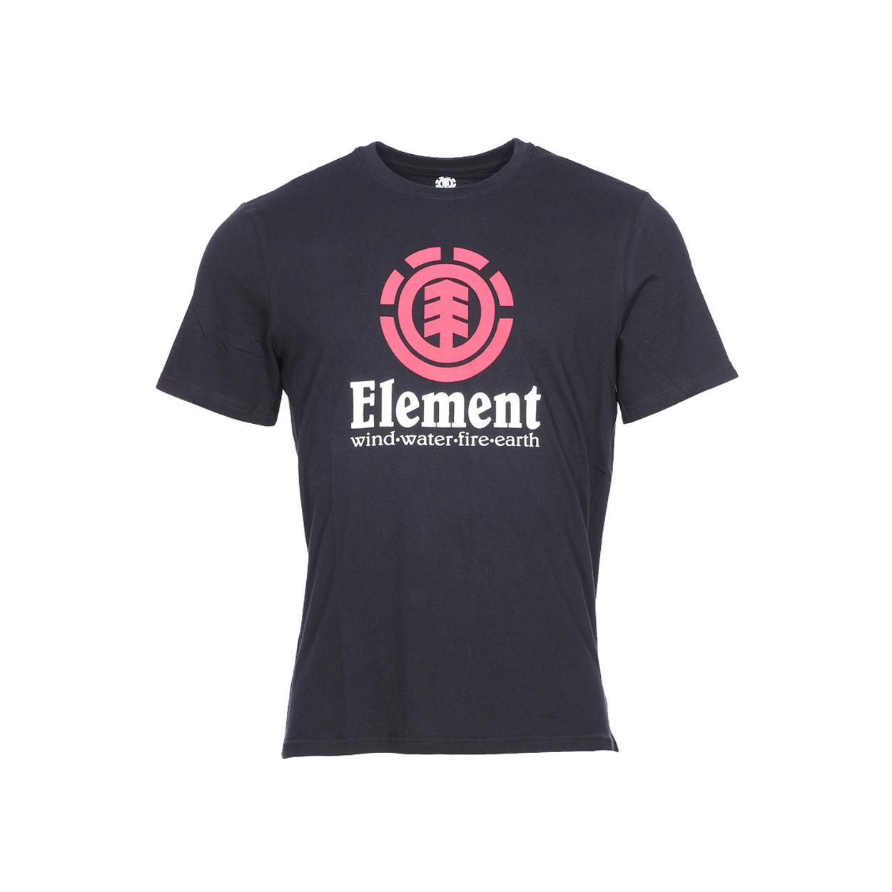 Tee-shirt col rond vertical  en coton noir floqué