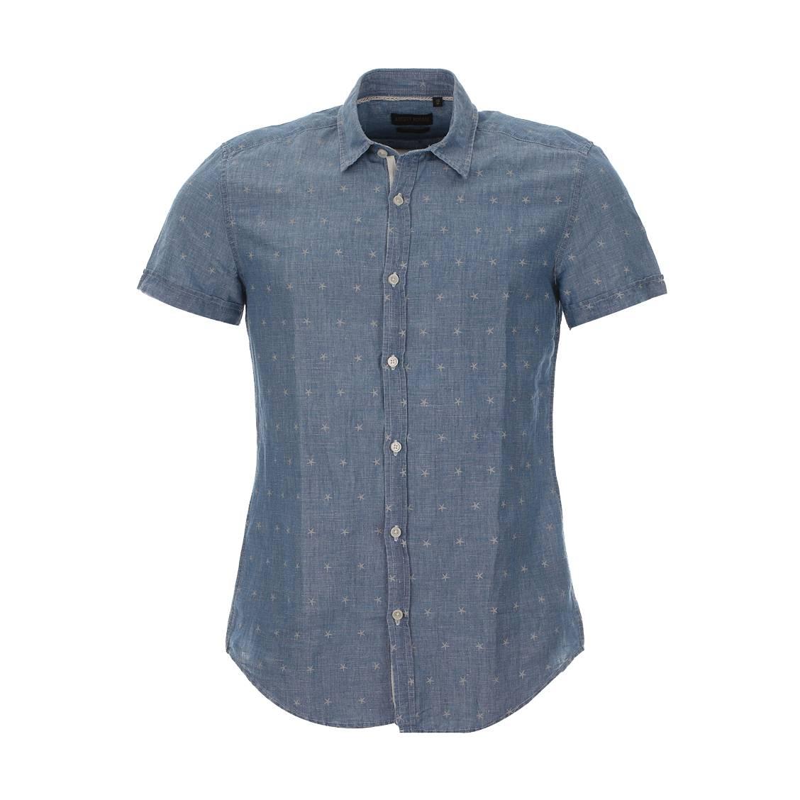 Chemise manches courtes  en coton et lin type denim bleu à étoiles