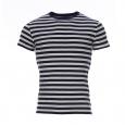 Tee-shirt marin Armor Lux à rayures bleu marine et blanches avec inscriptions floquées en rouge au dos