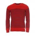 Pull rayé héritage Armor Lux, en jersey rouge à rayures bleu marine