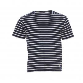 Tee-shirt Héritage Armor Lux en coton mercerisé bleu foncé à rayures blanches à col trapèze