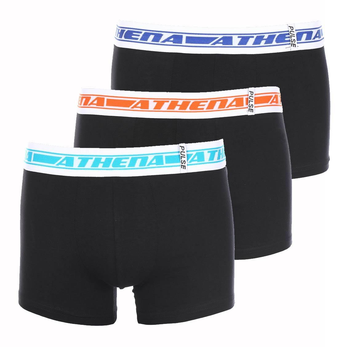 Lot de 3 boxers Athena à ceintures logotypées en orange, turquoise et bleu