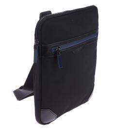 Sacoche plate zippée Azzaro noire et bleue en toile garnie de cuir