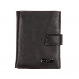 Petit portefeuille européen 3 volets Azzaro en cuir noir, porte-monnaie intégré
