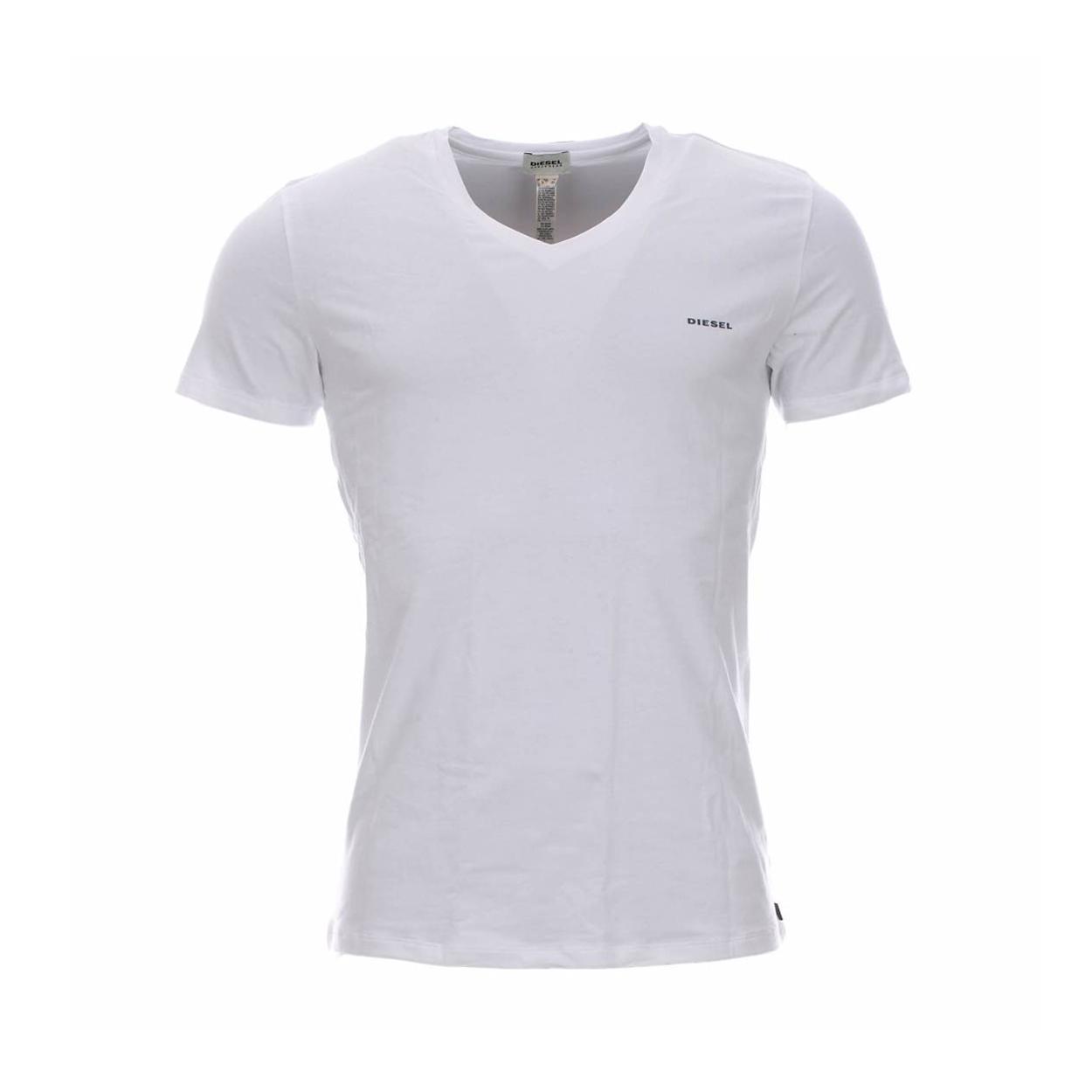 Tee-shirt diesel col v en coton stretch blanc