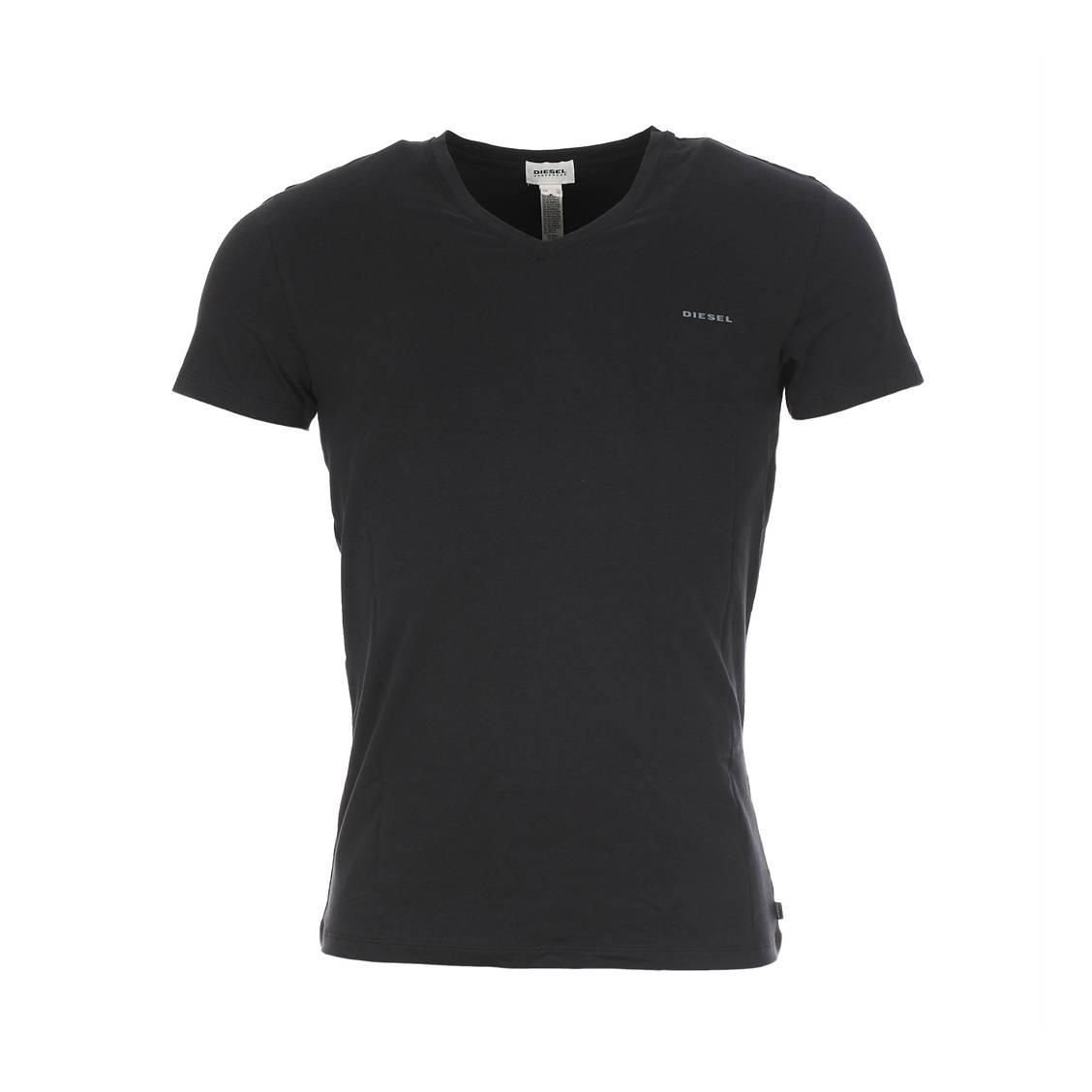 Tee-shirt diesel col v en coton stretch noir