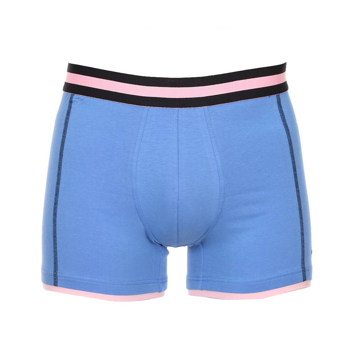 Boxer  en coton stretch bleu à ceinture élastiquée rayée