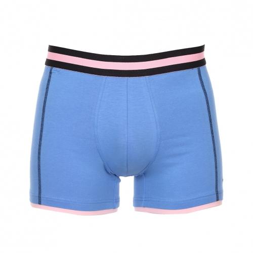 Boxer  en coton stretch bleu � ceinture �lastiqu�e ray�e