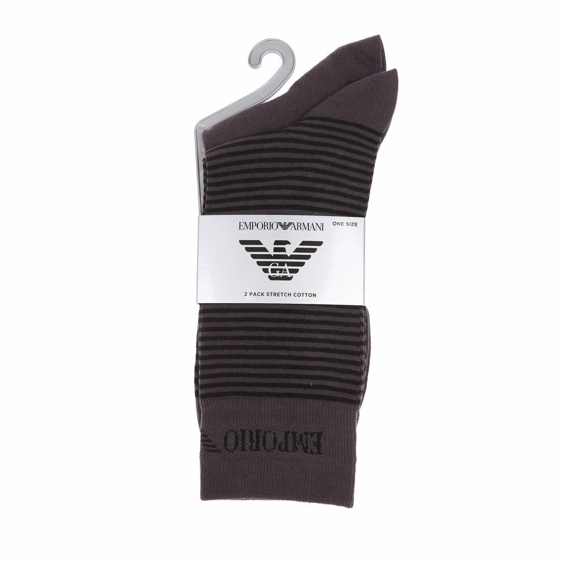 Lot de 2 paires de chaussettes  : 1 modèle gris anthracite et 1 modèle gris anthracite à rayures noires