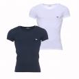 Lot de 2 tee-shirts Emporio Armani col v en coton stretch : 1 modèle blanc et un modèle bleu marine