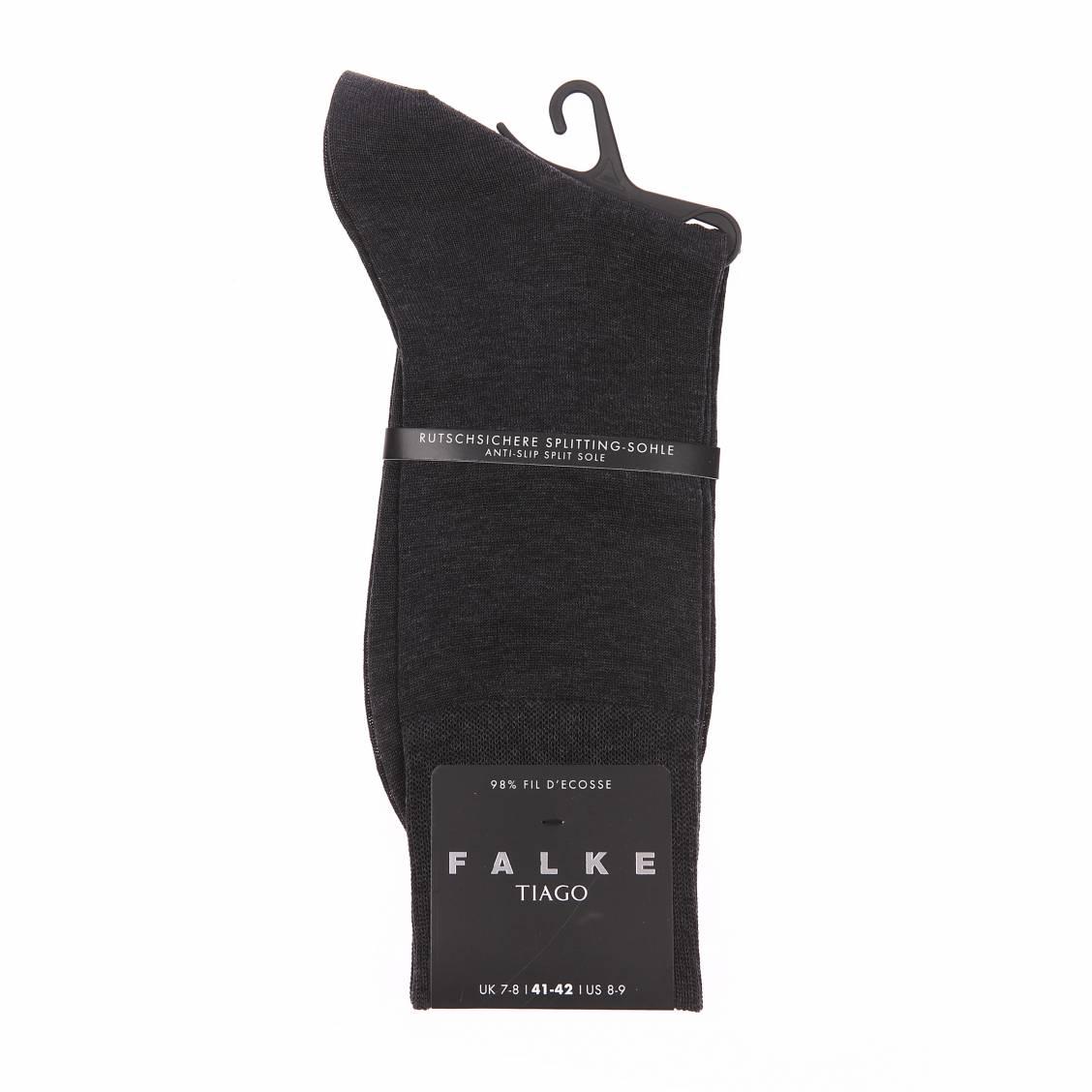 Chaussettes Tiago Falke en fil d'écosse gris anthracite