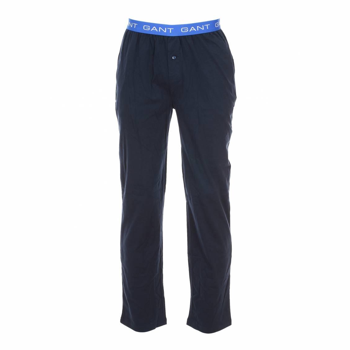 pantalon d 39 int rieur gant en coton bleu marine rue des hommes. Black Bedroom Furniture Sets. Home Design Ideas