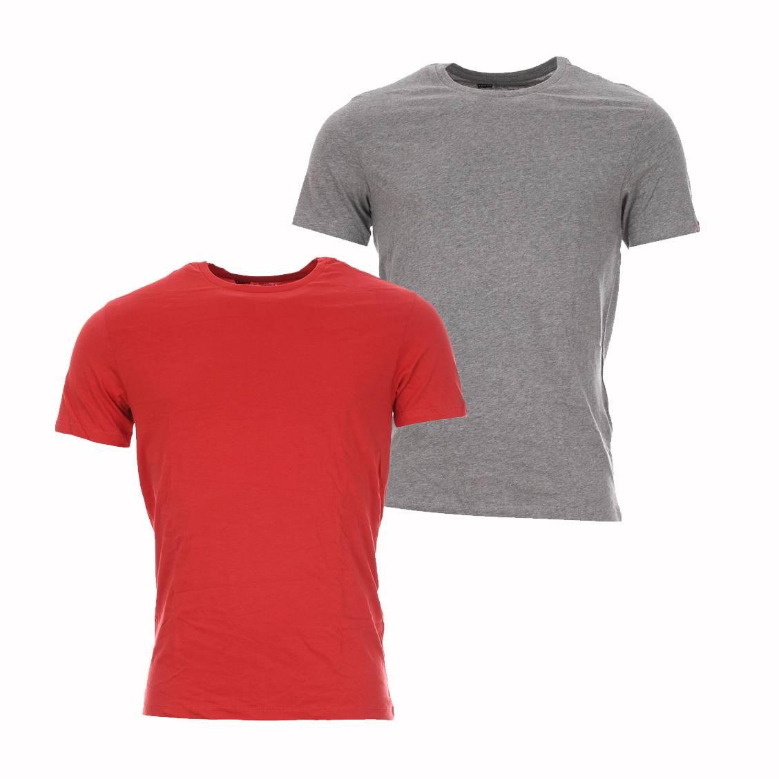 lot de 2 tee shirts col rond levi 39 s en coton gris et rouge. Black Bedroom Furniture Sets. Home Design Ideas