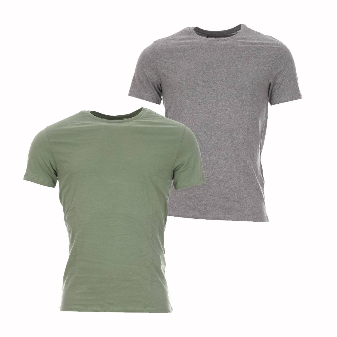 lot de 2 tee shirts col rond levi 39 s en coton gris et vert. Black Bedroom Furniture Sets. Home Design Ideas
