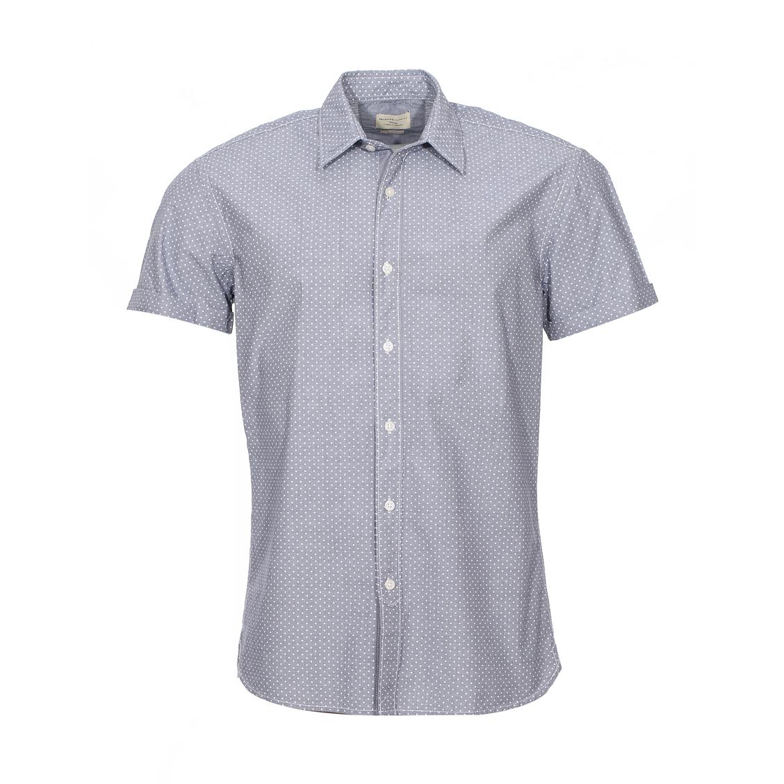 Chemise ajustée  en coton bleu gris, à petits pois blancs