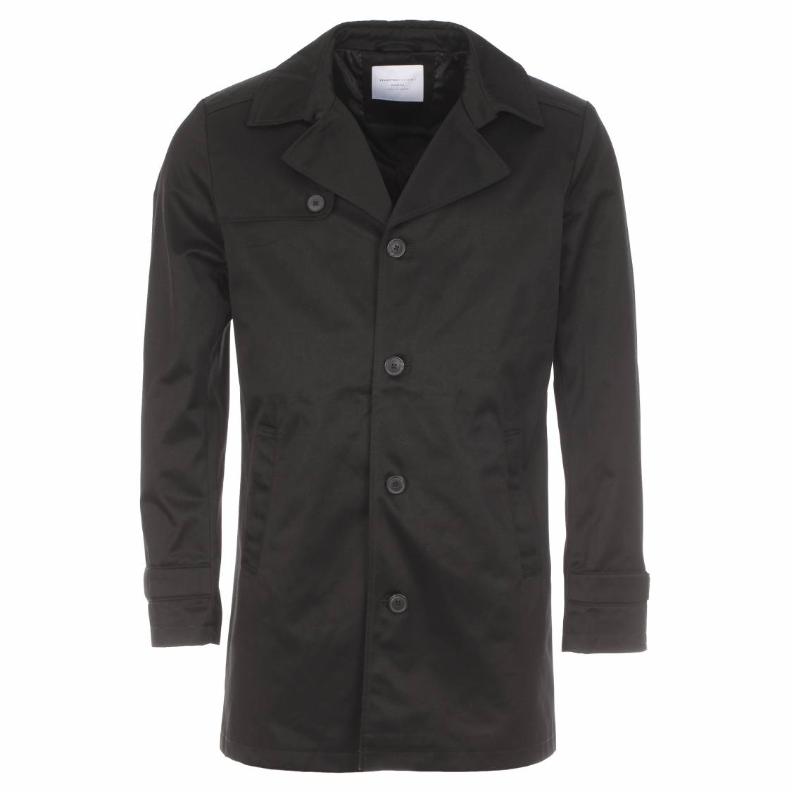 Trench Selected noir boutonné