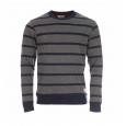 Pull marinière Héritage col rond Selected en coton gris foncé à rayures bleu marine