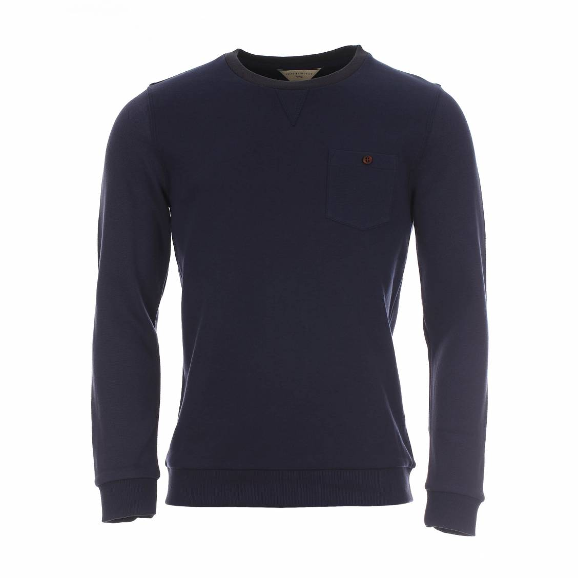 sweat Selected en coton bleu marine