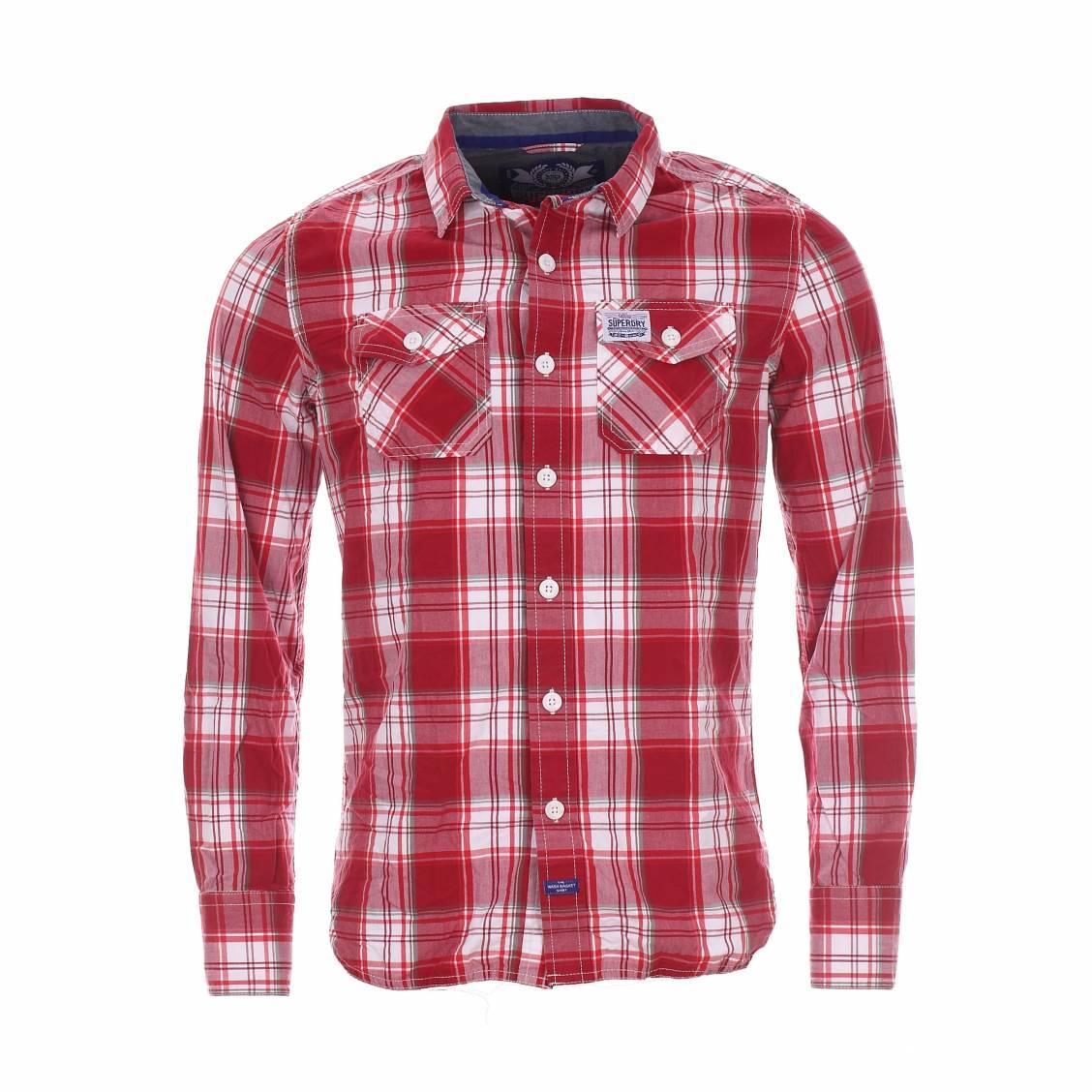 chemise cossaise superdry washbasket rouge brique blanche et grise rue des hommes. Black Bedroom Furniture Sets. Home Design Ideas
