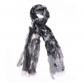 Chèche Teddy Smith en coton moucheté noir et blanc