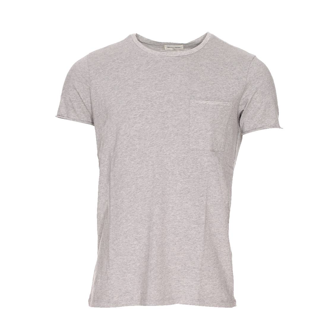 Tee-shirt col rond paxton  en jersey flammé épais gris clair chiné