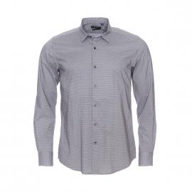Chemise cintrée Antony Morato en coton gris à petits motifs bleu marine et blancs