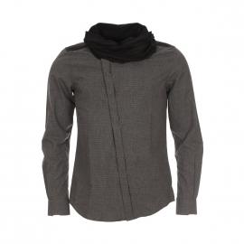 Chemise homme Antony Morato à carreaux gris, col boule et boutonnière oblique
