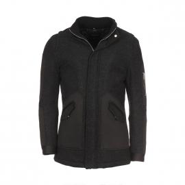 Manteau en laine Antony Morato Anthracite à empiècements noirs