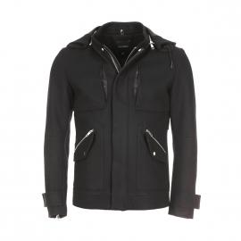 Manteau court Antony Morato noir à capuche amovible et empiècements en cuir