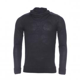 Pull col boule Antony Morato en laine noire à empiècements en simili-cuir