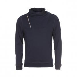 Sweat Antony Morato bleu marine à col châle zippé et coudières à motifs graphiques