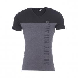 Tee-shirt Antony Morato noir et gris foncé floqué