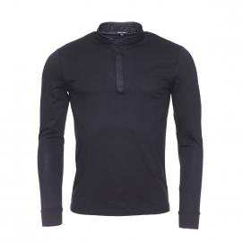 Tee-shirt manches longues Antony Morato noir à col mao en simili cuir