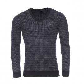 Pull col V Antony Morato en laine gris anthracite chiné à rayures noires