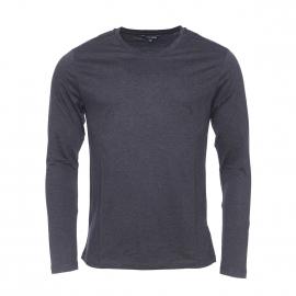 Tee-shirt manches longues Antony Morato gris anthracite chiné à empiècements en simili-cuir