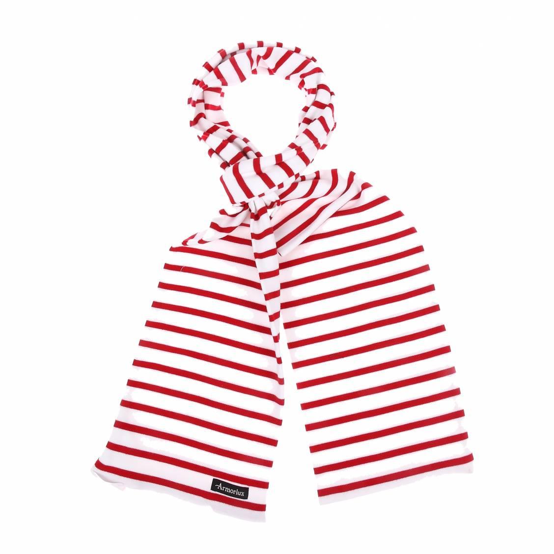 Echarpe pagaie  en coton épais blanc à rayures rouges