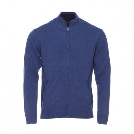 Cardigan zippé Armor Lux en laine bleu chiné