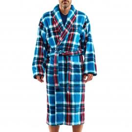 Robe de chambre Arthur en polaire à carreaux bleu canard, verts, blancs et rouges