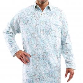 Liquette chemise Arthur en coton interlock blanc à imprimé cartes de montagne