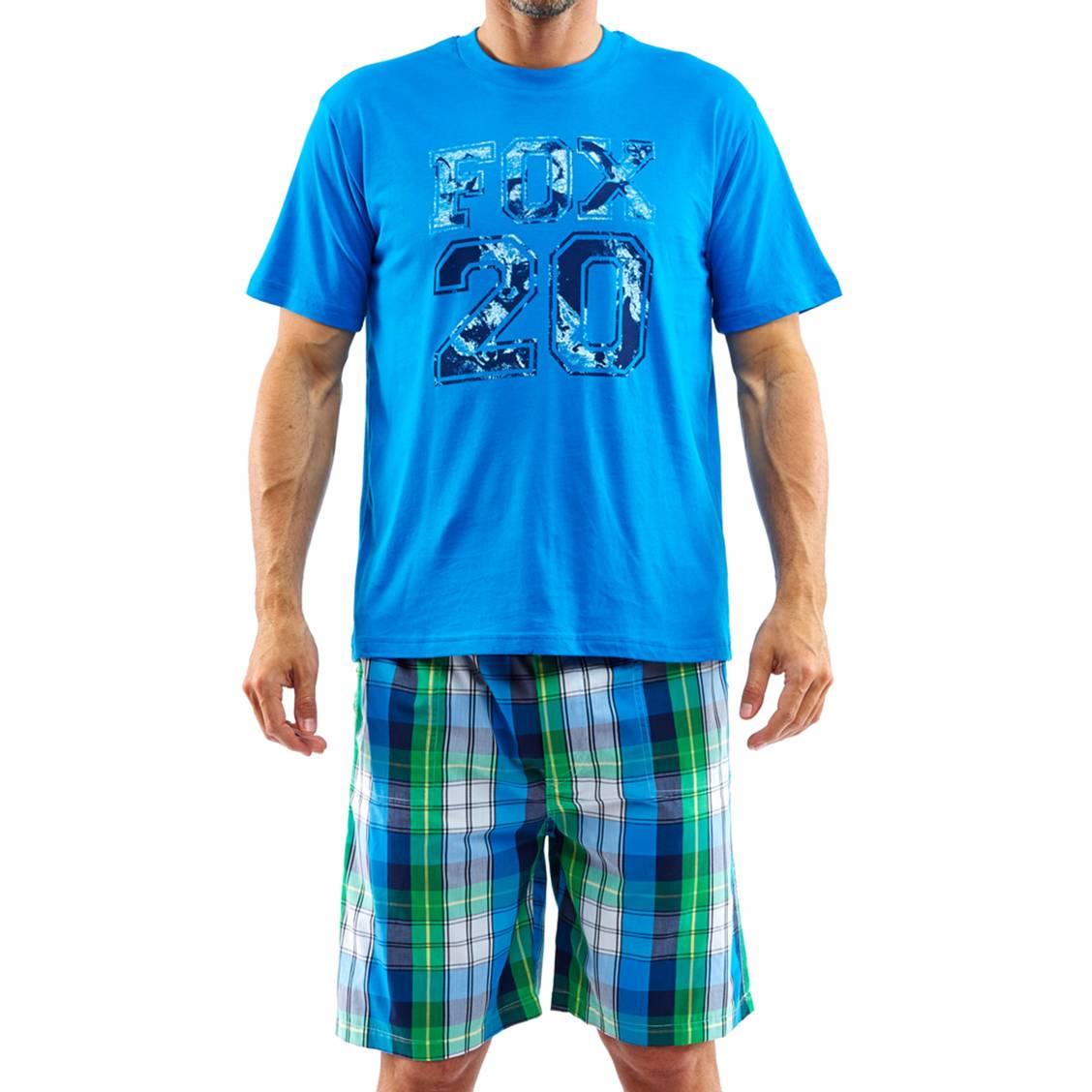 Pyjama court arthur gill tee shirt bleu azur floqu et for Pyjama carreaux