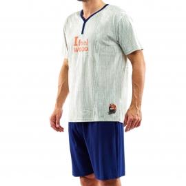 Pyjama court Arthur Wood : Tee-shirt gris à rayures à impression