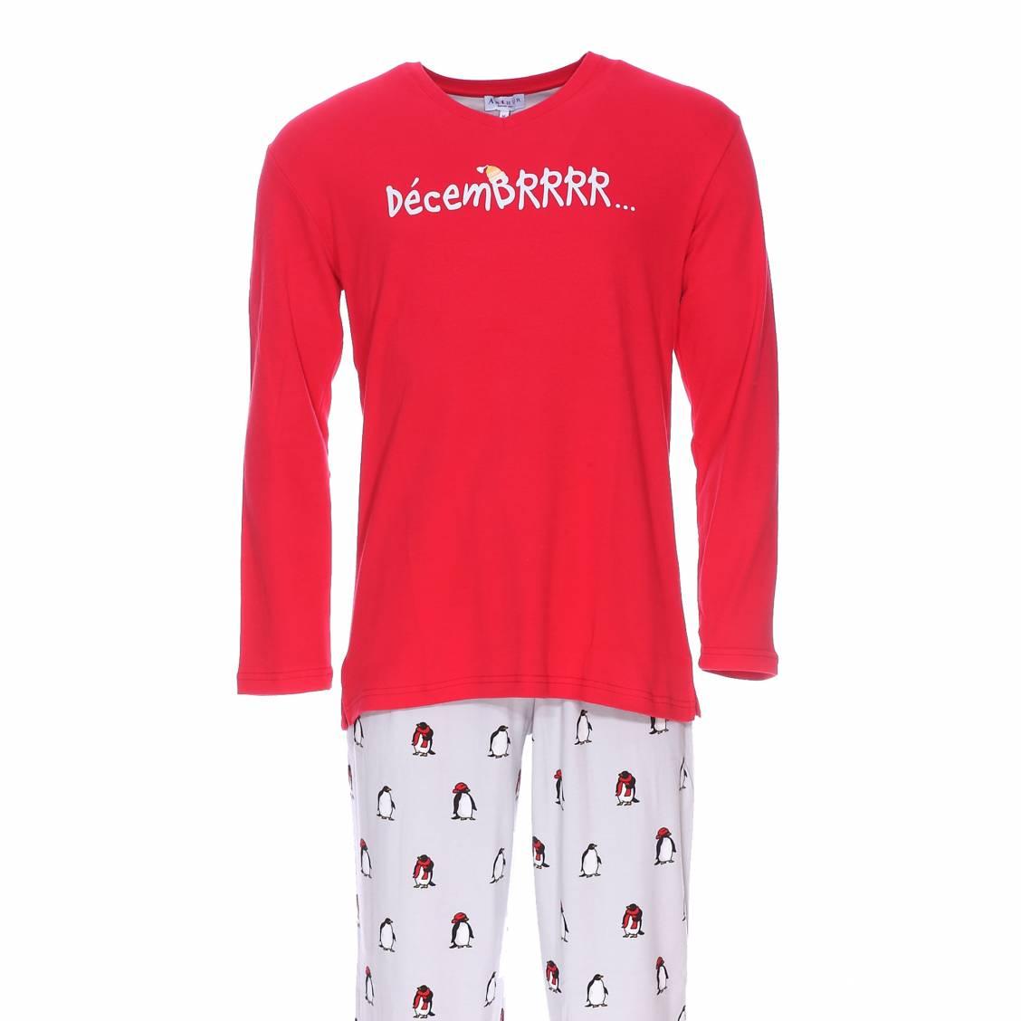 Pyjama long  : tee-shirt manches longues rouge à impression \