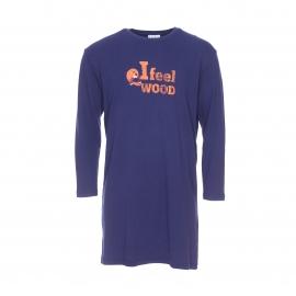 Maxi tee-shirt Wood Arthur en coton bleu marine floqué
