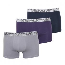 Lot de 3 boxers Athena en coton stretch : 1 modèle cassis, 1 modèle gris et 1 modèle bleu marine