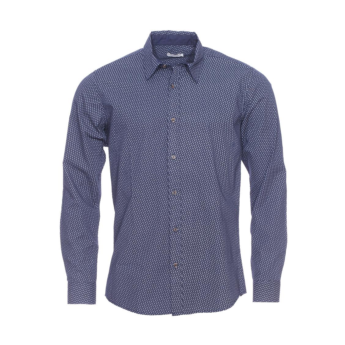 Chemise ajustée  bleu marine à motifs ovales blancs