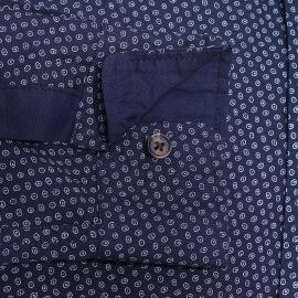 Chemise ajustée Best Mountain bleu marine à motifs ovales blancs